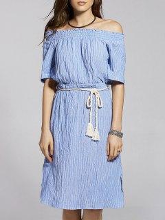 Belted Striped Manches Courtes Off The Robe Asymétrique - Bleu M