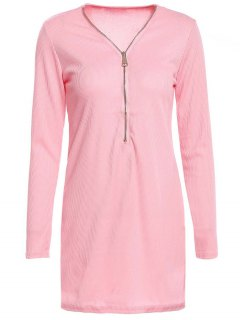 Zipper Plunging Neck Long Sleeve Bodycon Dress - Pink S