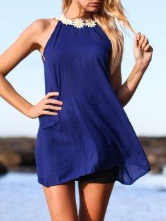 Backless Daisy Splicing Jewel Neck Dress - Purplish Blue Xl