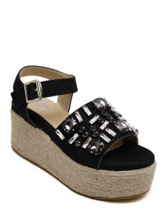 Rhinestone Platform Denim Sandals - Black 38