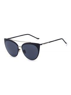 Plaid Black Cat Eye Sunglasses - Black