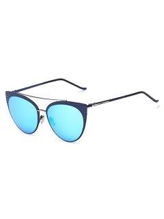 Plaid Mirrored Cat Eye Sunglasses - Ice Blue