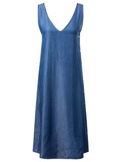 High Slit V-Neck Chambray Maxi Dress - Blue S