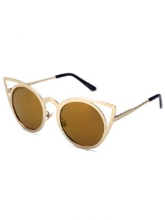 Cut Out Golden Cat Eye Sunglasses - Tyrant Gold