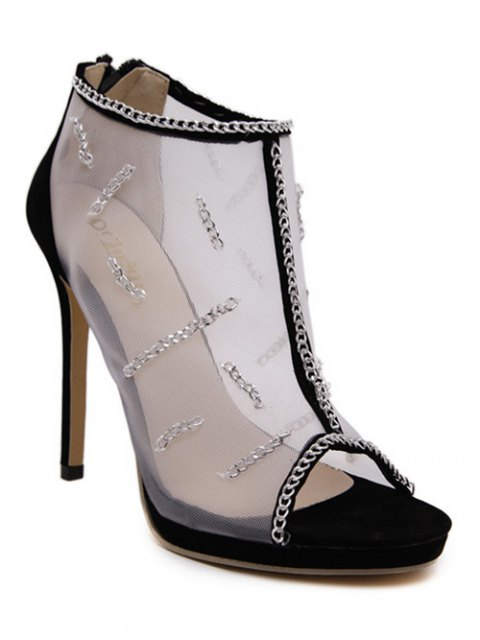 fashion Gauze Chains Stiletto Heel Peep Toe Shoes - BLACK 38 Mobile