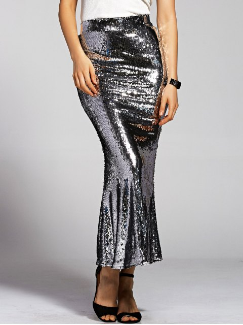hot Silver Sequined High Waist Mermaid Skirt - SILVER XL Mobile