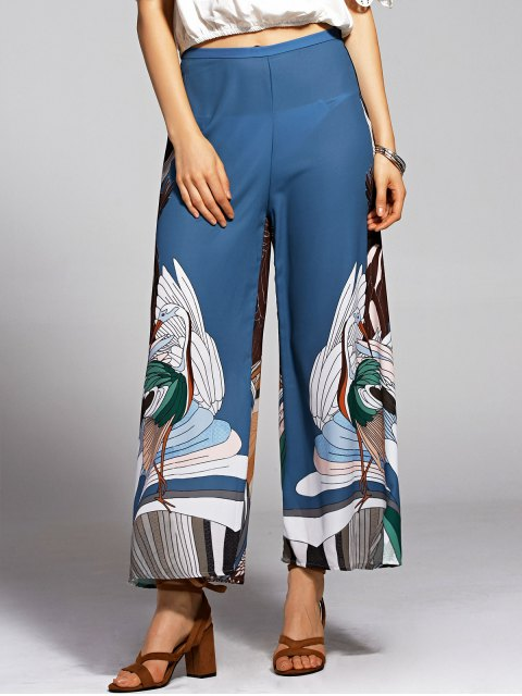 chic Print High Waisted Wide Leg Pants - BLUE AND BLACK L Mobile
