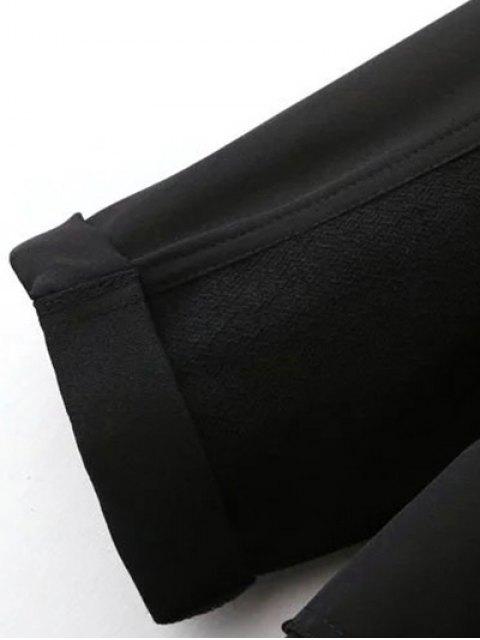 fancy Side Slit Lapel Collar Solid Color Long Coat - BLACK L Mobile