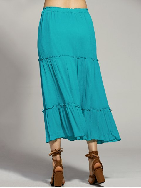 chic Solid Color Elastic Waist High Waist A-Line Skirt - LAKE BLUE S Mobile