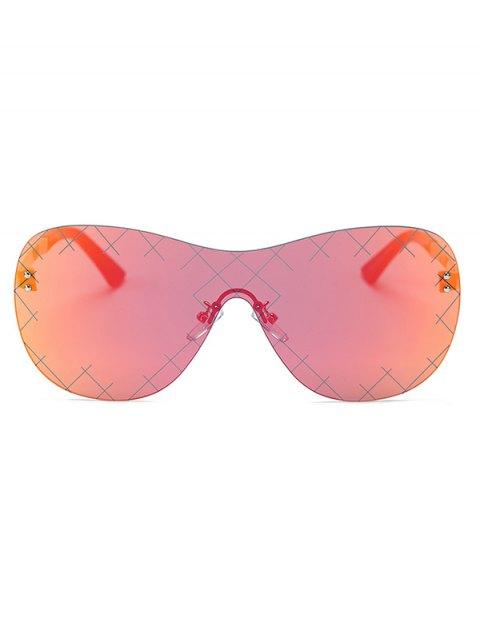 shop Plaid Mesh Mirrored Shield Sunglasses - RED  Mobile