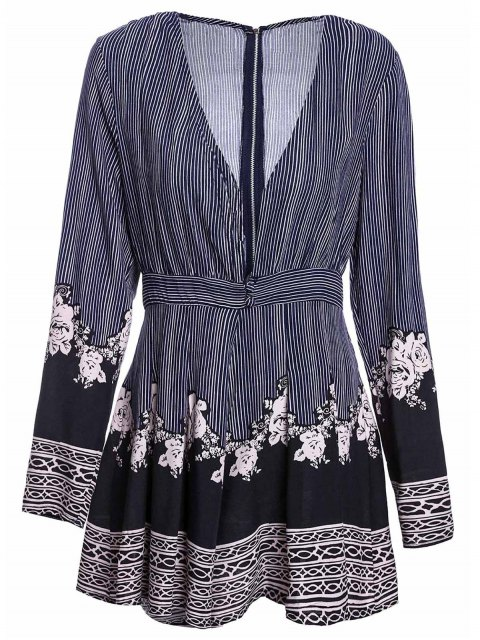 fancy Stripe Printed Plunging Neck Long Sleeve Romper - COLORMIX M Mobile