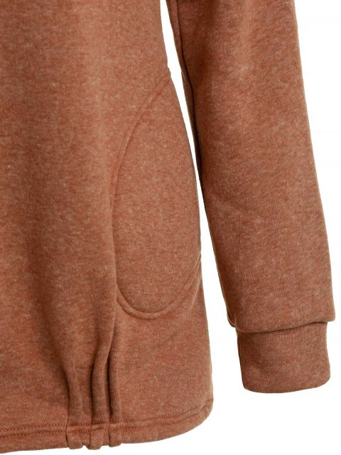 sale Solid Color Long Sleeve Loose Pullover Hoodie - BROWN L Mobile