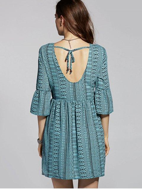 ladies Drawstring Geometric Print Round Neck Flare Sleeve Dress - DEEP GREEN M Mobile