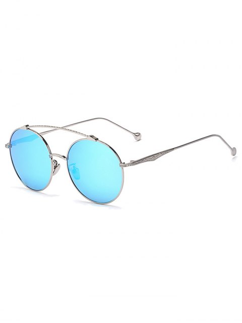 lady Brow-Bar Silver Round Sunglasses - ICE BLUE  Mobile