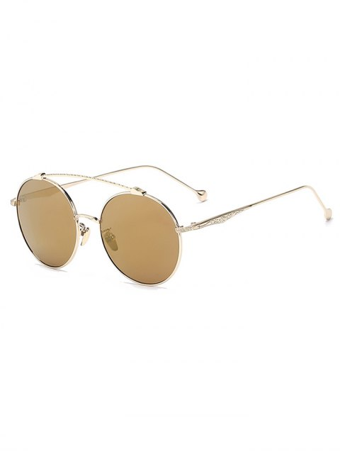 hot Brow-Bar Golden Round Sunglasses - TYRANT GOLD  Mobile