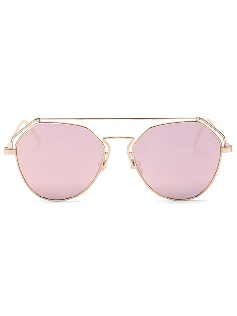 shop Golden Brow-Bar Mirrored Pilot Sunglasses - PINK  Mobile