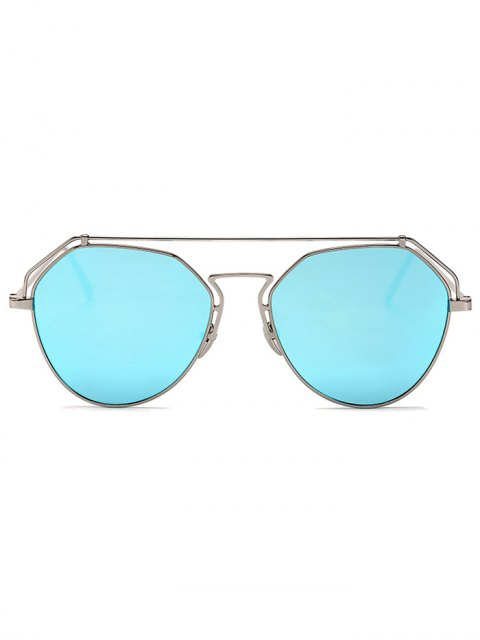 trendy Silver Brow-Bar Mirrored Pilot Sunglasses - SILVER  Mobile