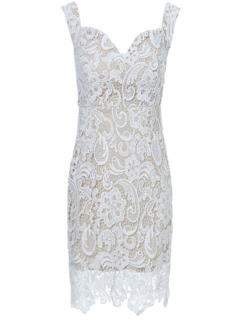 chic Off The Shoulder Lace Bodycon Dress - WHITE XL Mobile