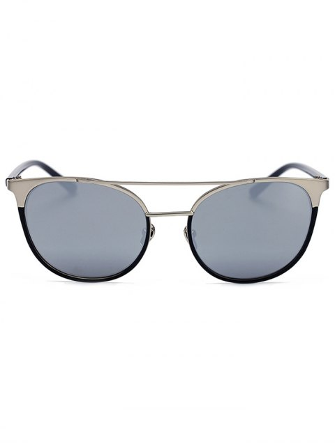 affordable Silver Crossbar Mirrored Cat Eye Sunglasses - SILVER  Mobile