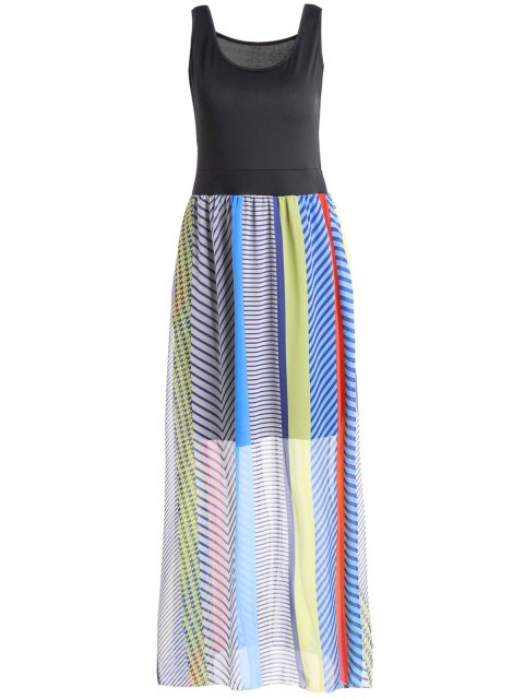 shop Sleeveless Striped Bohemian Dress - COLORMIX XL Mobile