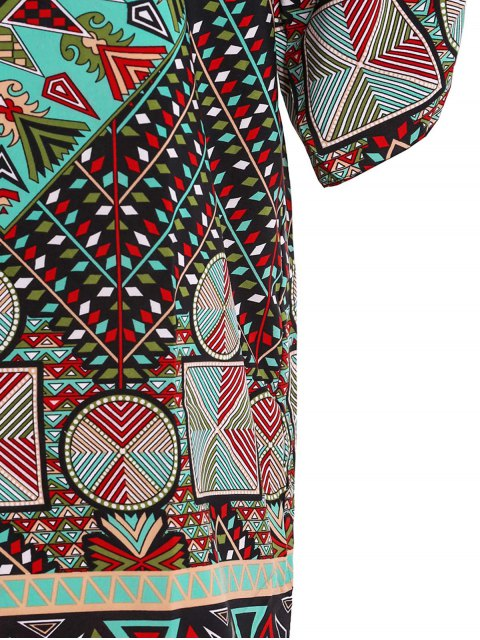 ladies Ethnic Print Jewel Neck Half Sleeve Dress - GREEN M Mobile