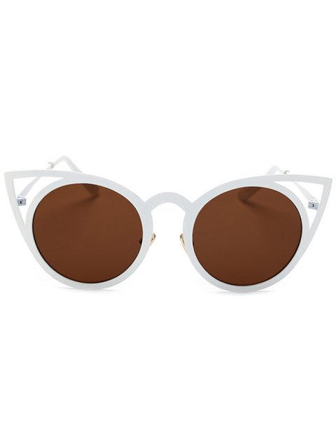 lady Cut Out White Cat Eye Sunglasses - TEA-COLORED  Mobile