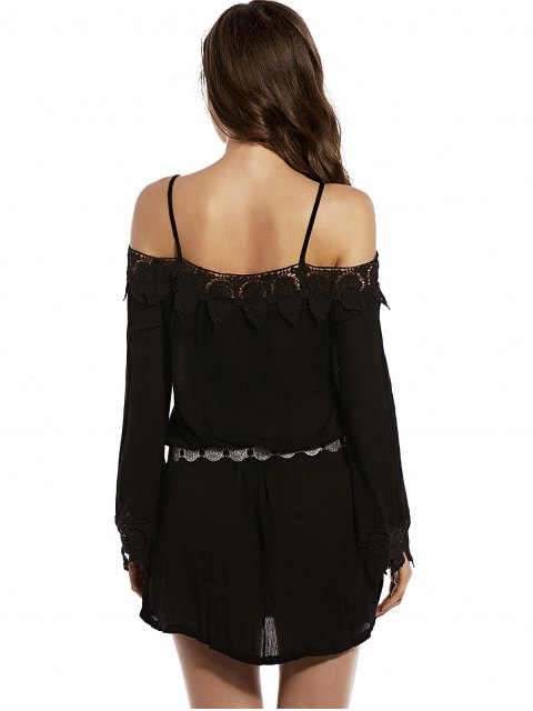 ladies Cold Shoulder Lace Trim Dress - BLACK L Mobile