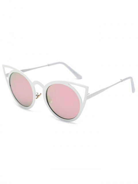 best Cut Out White Cat Eye Mirrored Sunglasses - PINK  Mobile