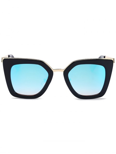 sale Matte Black Mirrored Irregular Sunglasses - BLACK  Mobile