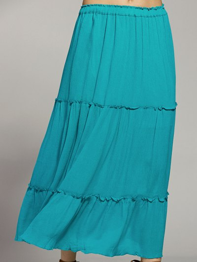 Solid Color Elastic Waist High Waist A-Line Skirt - LAKE BLUE M Mobile