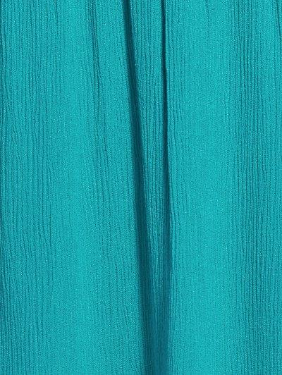 Solid Color Elastic Waist High Waist A-Line Skirt - LAKE BLUE S Mobile