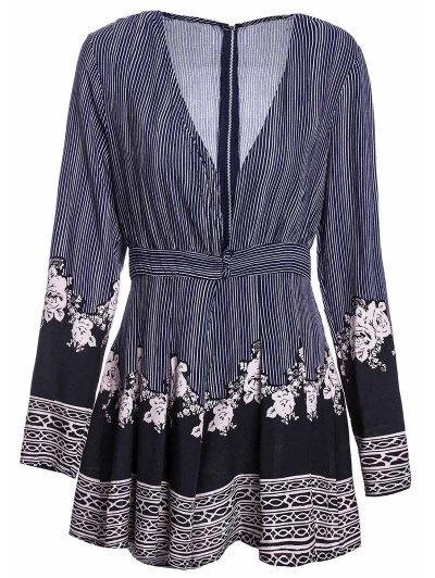 Stripe Printed Plunging Neck Long Sleeve Romper - COLORMIX M Mobile