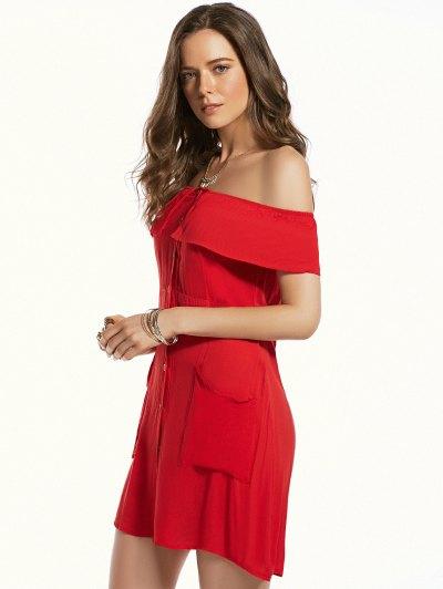 Red Off The Shoulder Waisted Dress от Zaful.com INT