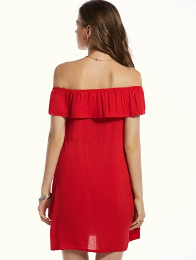 Red Off The Shoulder Waisted Dress от Zaful.com INT