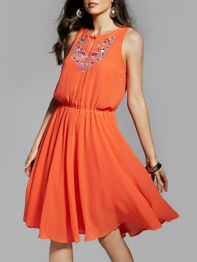 Round Neck Embroidery Sleeveless Dress от Zaful.com INT