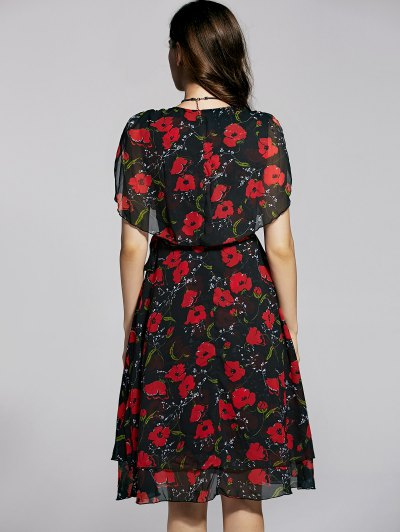 Irregular Hem Flower Print V Neck Sleeveless Dress от Zaful.com INT