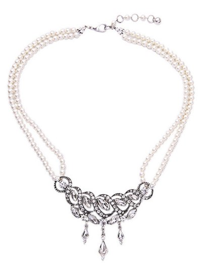 Spiral Faux Pearl Crystal Necklace - White