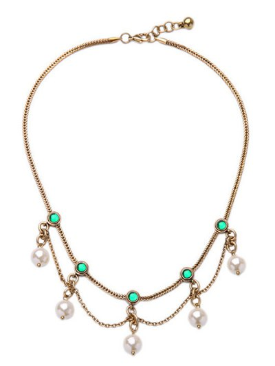 Faux Pearl Gem Layered Necklace - Golden