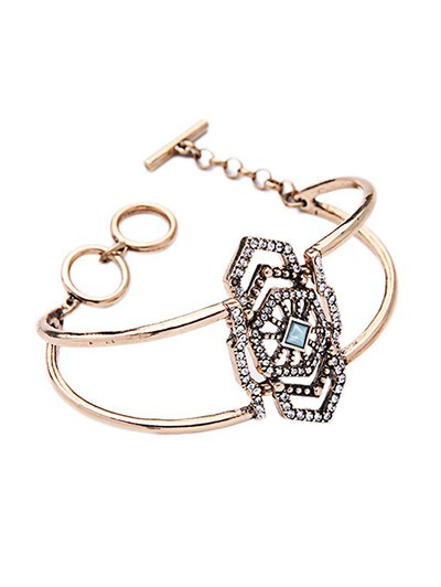 Hollowed Rhinestone Geometric Bracelet - GOLDEN  Mobile
