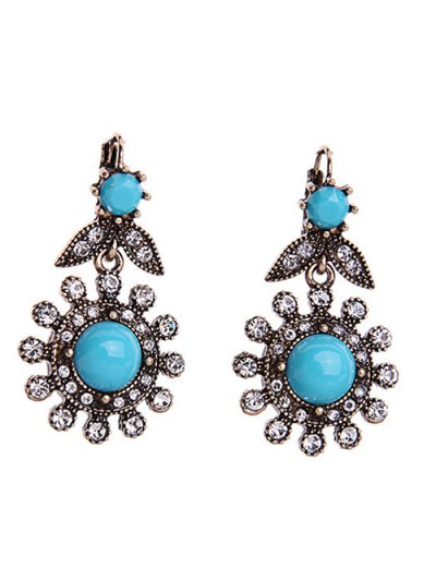 Retro Rhinestone Floral Earrings - Blue