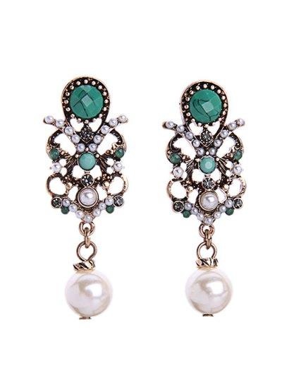 Faux Pearl Gem Earrings
