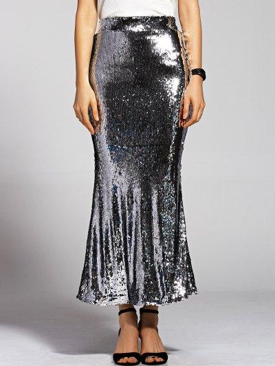 Silver Sequined High Waist Mermaid Skirt - SILVER XL Mobile