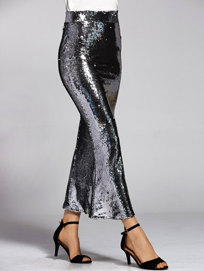 Silver Sequined High Waist Mermaid Skirt - SILVER L Mobile