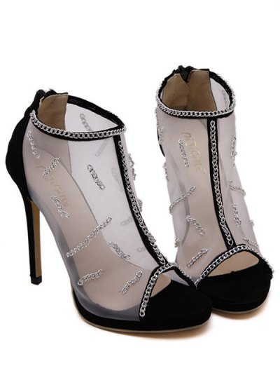 Gauze Chains Stiletto Heel Peep Toe Shoes - BLACK 38 Mobile