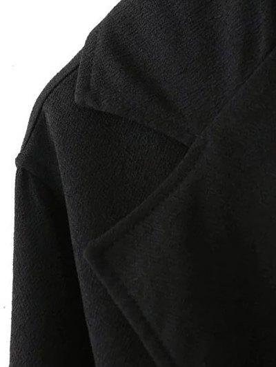 Side Slit Lapel Collar Solid Color Long Coat - BLACK S Mobile