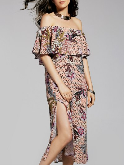 Flower Print Off The Shoulder Ruffle Dress