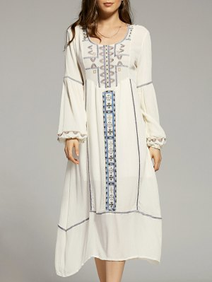 Cut Out Embroidery Scoop Neck Lantern Sleeve Dress - White