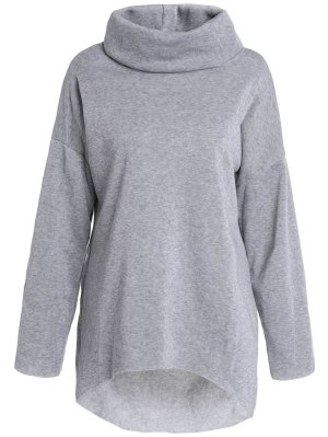 Cowl Neck High Low Sweatshirt