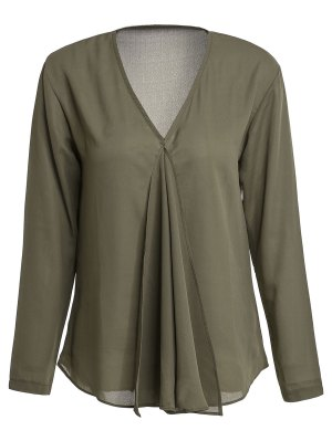 Solid Color Pleated V-Neck Long Sleeve Blouse - Army Green