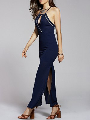 Solid Color Cami Side Slit Maxi Dress - Purplish Blue